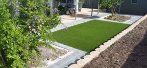Artificial turf and pavers display for garden and landscaping